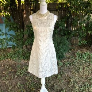 Eliza J Dress white with pearl embellished collar